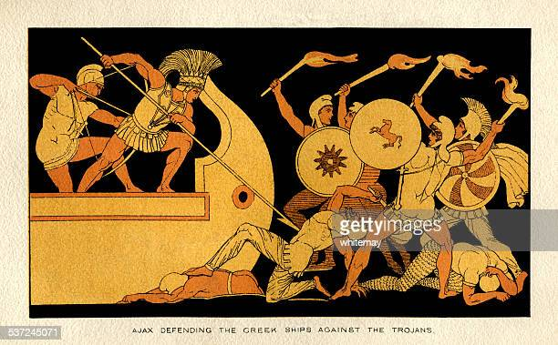 ajax defending the greek ships against the trojans - classical greek style stock illustrations