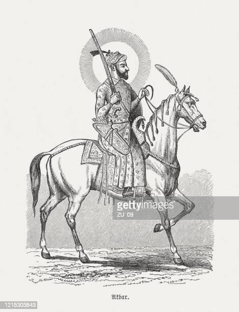 アクバル大王(1542-1605)、インドのムガール、木彫り、1893年出版 - ムーガル帝国点のイラスト素材/クリップアート素材/マンガ素材/アイコン素材