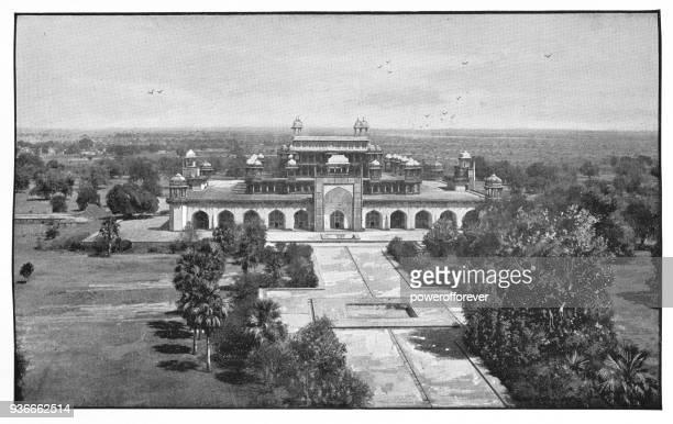 Akbar's Mausoleum in Agra, India - British Era
