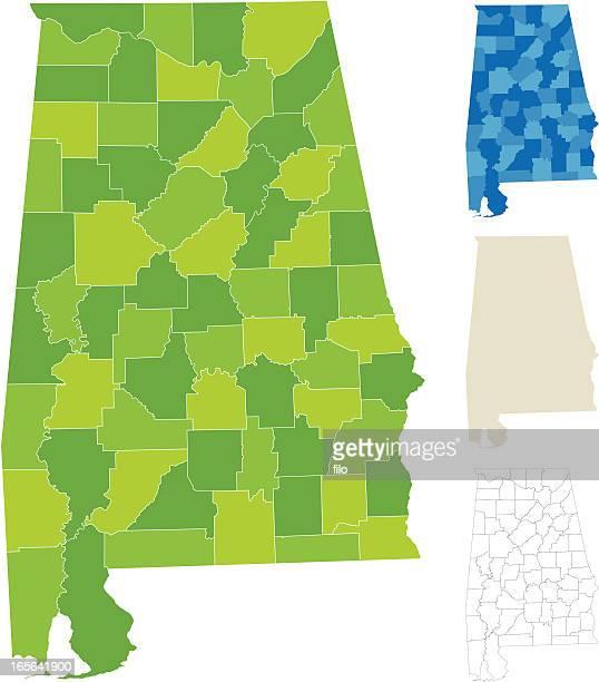 alabama county map - alabama stock illustrations, clip art, cartoons, & icons
