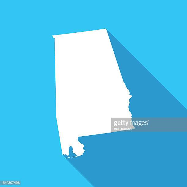alabama long shadow map in white on a blue background - alabama stock illustrations, clip art, cartoons, & icons