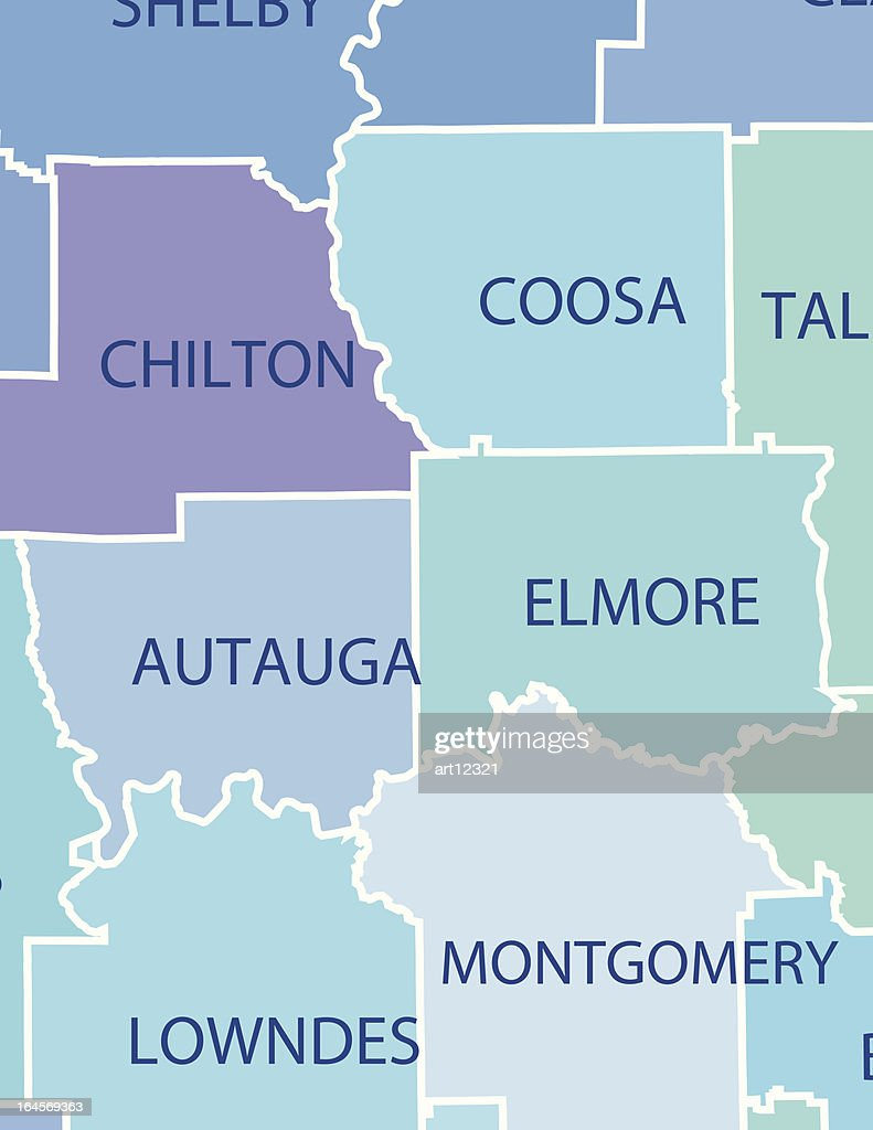 Alabama Map with Counties and Activities & Community Assistance Icons
