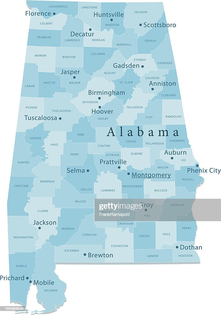 Alabama Vector Map Regions Isolated