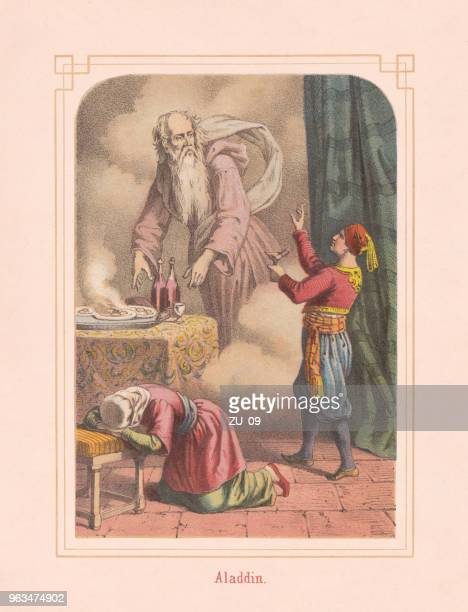 Aladdin and the magic lamp, from Arabian Nights, lithograph, 1867