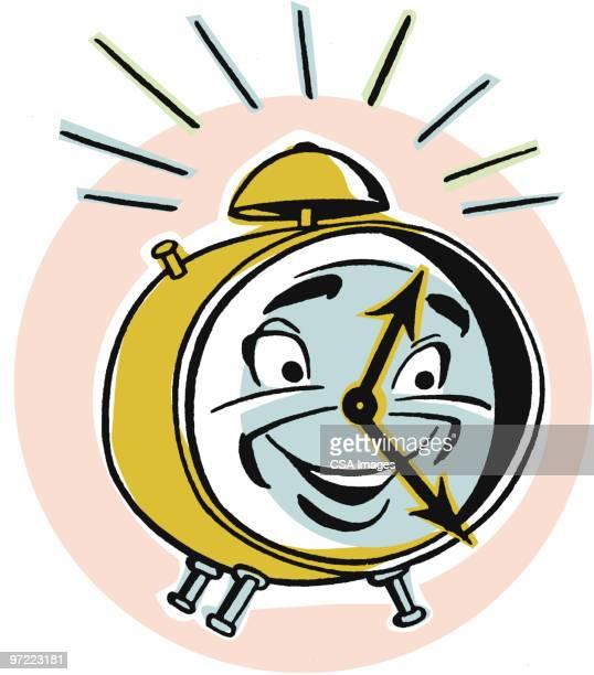 alarm clock - minute hand stock illustrations