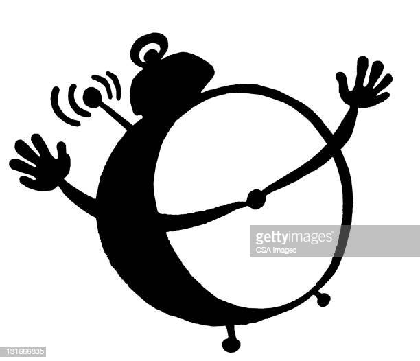 alarm clock with arms - minute hand stock illustrations
