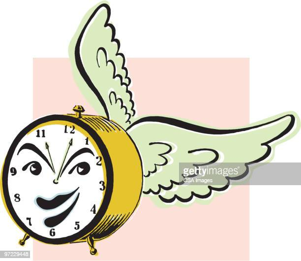 alarm clock with wings - minute hand stock illustrations