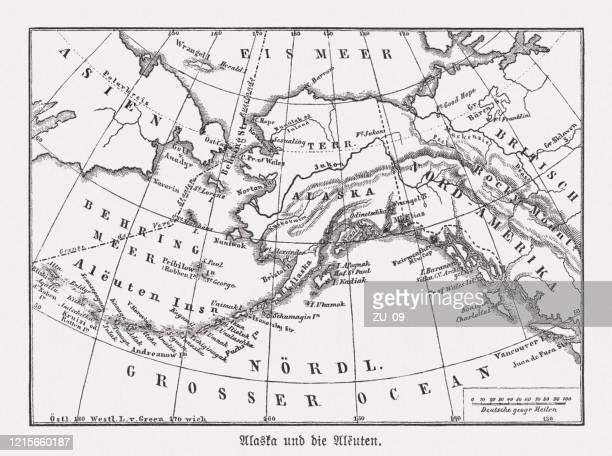 アラスカとアリューシャン諸島、木彫、1893年に出版 - アラスカ点のイラスト素材/クリップアート素材/マンガ素材/アイコン素材