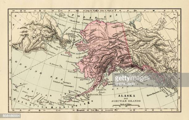 alaska map 1893 - bering sea stock illustrations