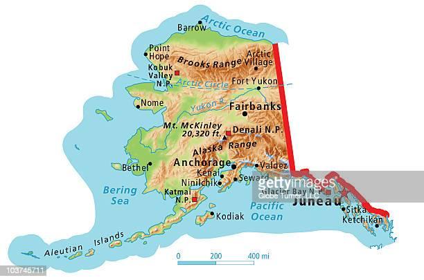 Physical Map Of Alaska Premium Stock Illustrations - Getty ...