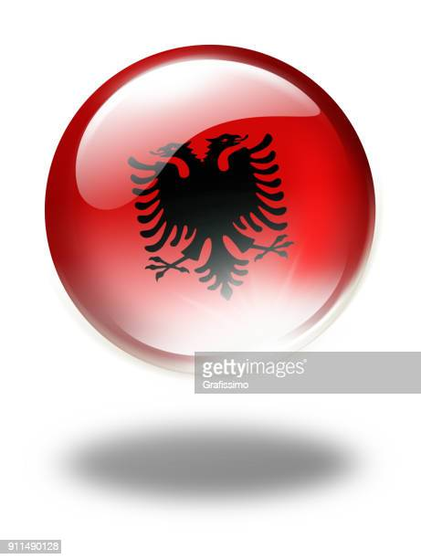 Albania button with albanian flag isolated on white