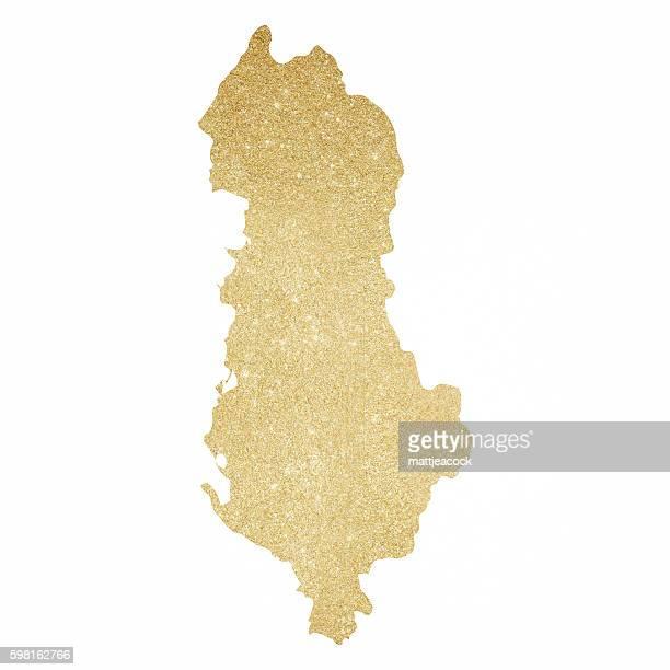 Albania gold glitter map