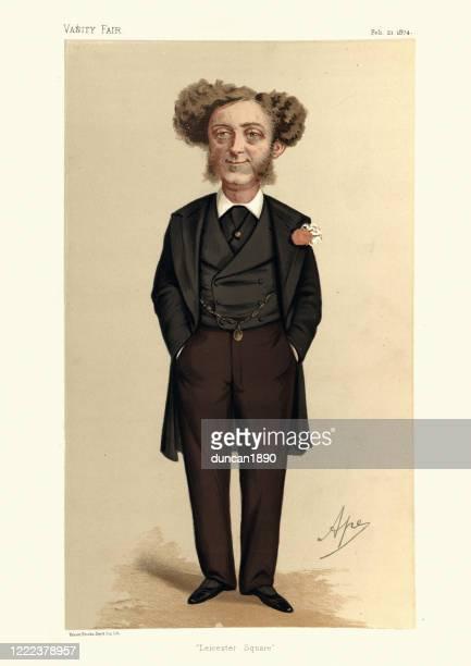 ilustrações, clipart, desenhos animados e ícones de albert grant, caricatura da vanity fair, promotor de empresas britânico e político - cartoon characters with curly hair