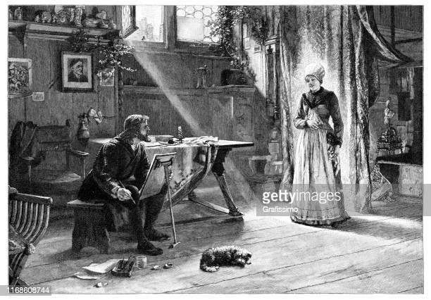 illustrazioni stock, clip art, cartoni animati e icone di tendenza di albrecht dürer dipinge sua moglie del xv secolo - pittore
