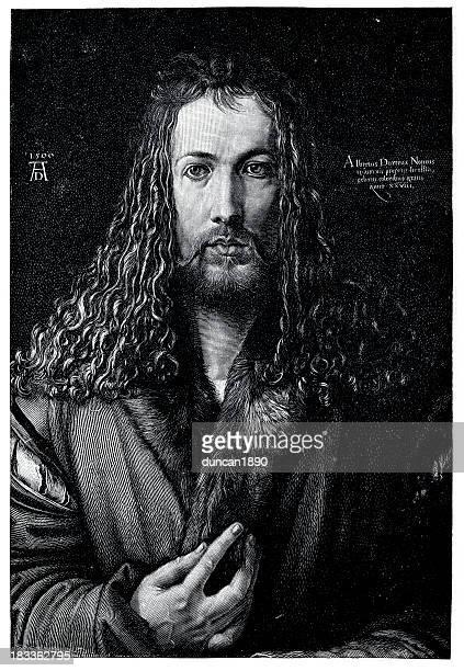 albrecht dürer self portrait - high renaissance stock illustrations