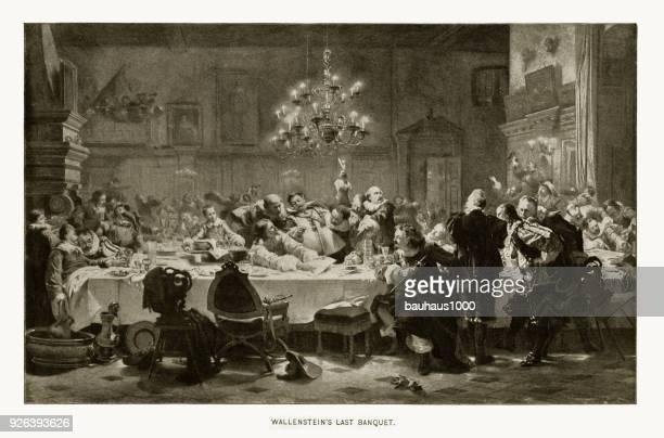 albrecht von wallenstein's last banquet, 1583-1634, engraving - party social event stock illustrations