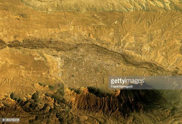 albuquerque 3d landscape view east-west natural color - new mexico stock illustrations