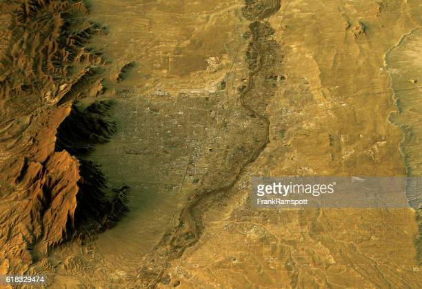 Albuquerque 3D Landscape View North-South Natural Color