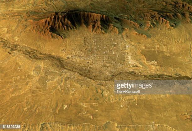 albuquerque 3d landscape view west-east natural color - aerial view stock illustrations
