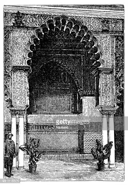 alcazar of seville - seville stock illustrations, clip art, cartoons, & icons