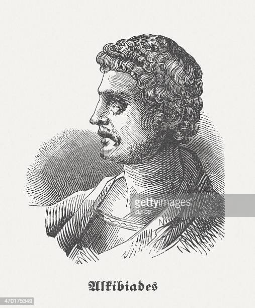 alcibiades (450-404 bc), athenian statesman, wood engraving, published in 1864 - athens georgia stock illustrations, clip art, cartoons, & icons