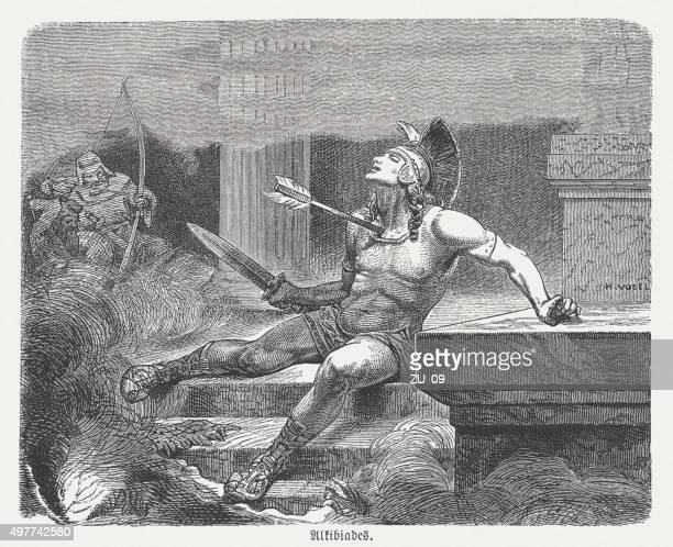 alcibiades (c. 450-404 bc) death, published in 1882 - sparta greece stock illustrations, clip art, cartoons, & icons