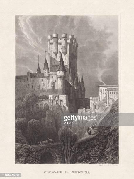ilustrações de stock, clip art, desenhos animados e ícones de alcázar of segovia, spain, steel engraving, published in 1857 - torre estrutura construída
