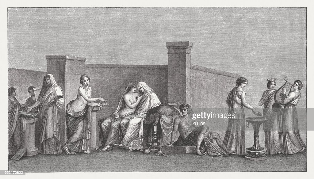 Aldobrandini Wedding, ancient Roman fresco, Vatican, wood engraving, published 1884 : Stock Illustration