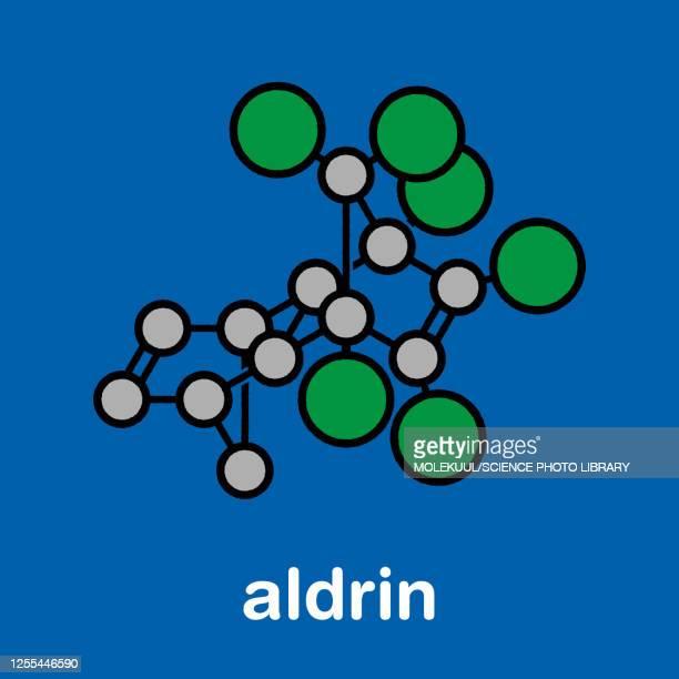 aldrin banned pesticide molecule, illustration - chemistry stock illustrations