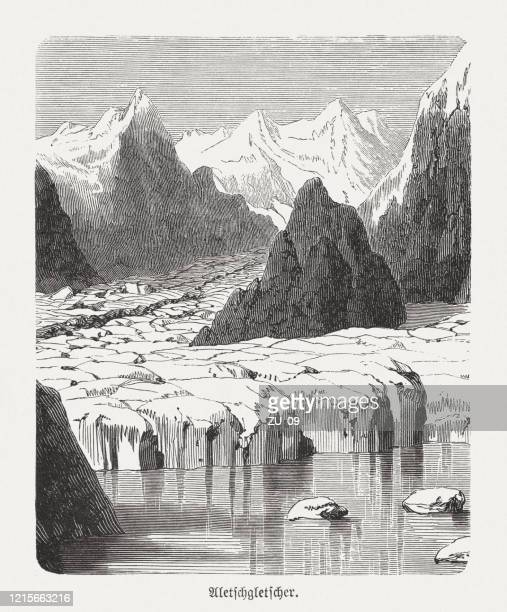 aletsch glacier, bernese alps, switzerland, wood engraving, published in 1893 - natural phenomena stock illustrations
