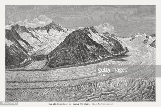 Aletsch Glacier, Bernese Oberland, Switzerland, wood engraving, published in 1897