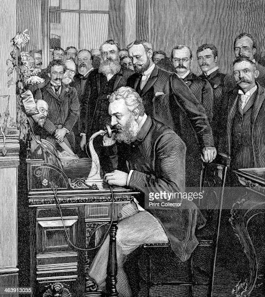 Alexander Graham Bell Scottishborn American inventor 1892 Bell patented the telephone in 1876 Here he is inaugurating the 1520 km telephone link...