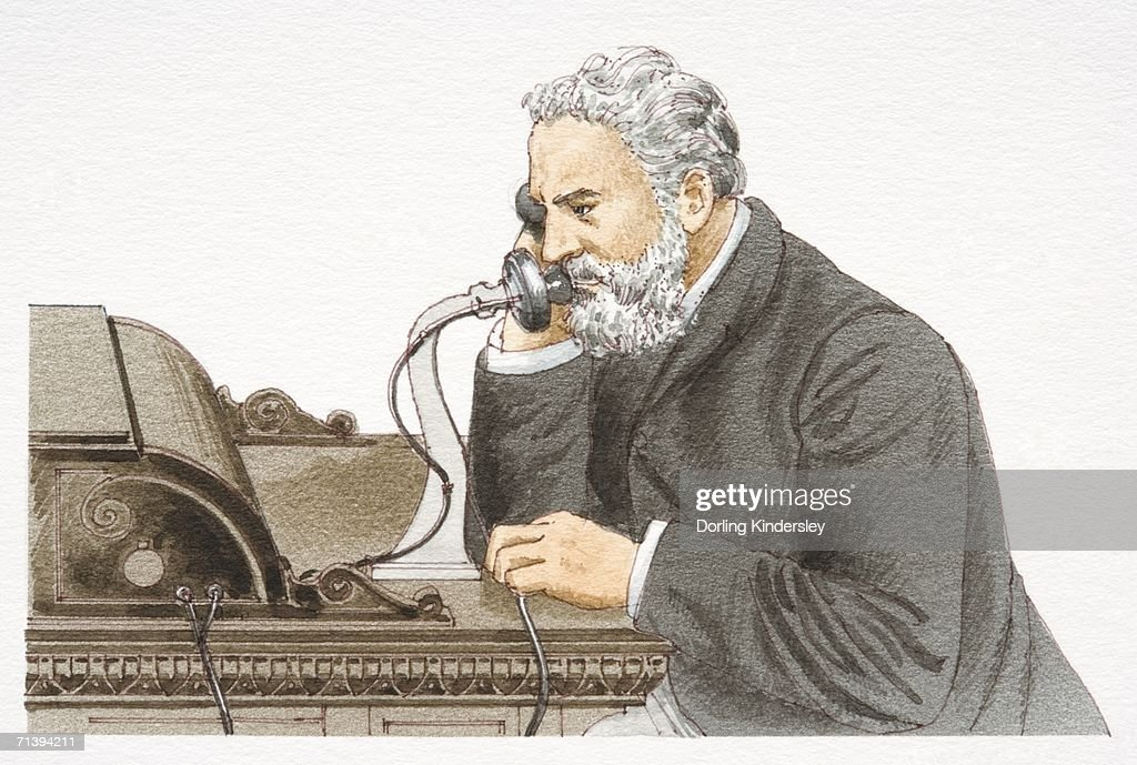 Alexander Graham Bell speaking 1876 Bell telephone, side view. : stock illustration