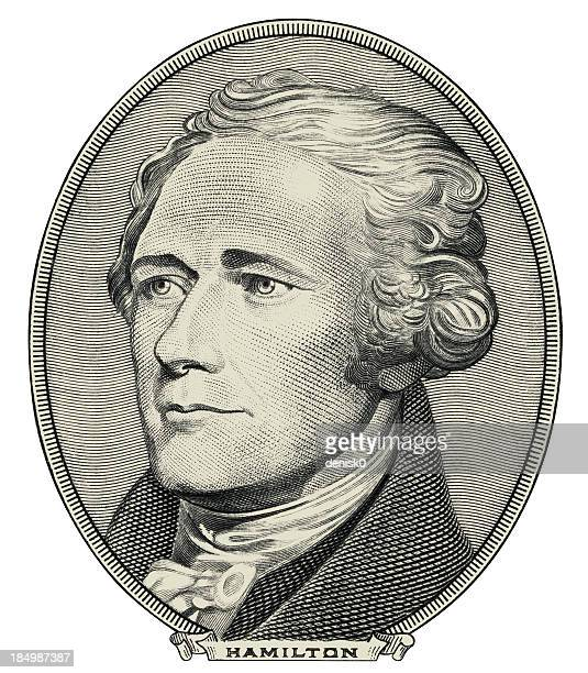 alexander hamilton $20 bill portrait cut out - declaration of independence stock illustrations
