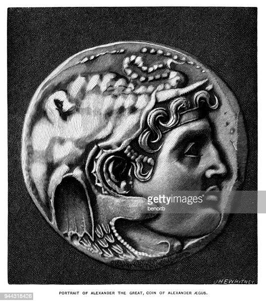 alexander the great coin - alexander the great stock illustrations