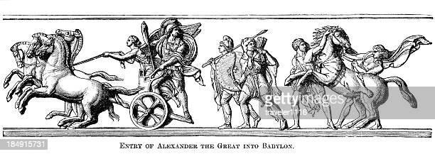 alexander the great entering babylon - alexander the great stock illustrations