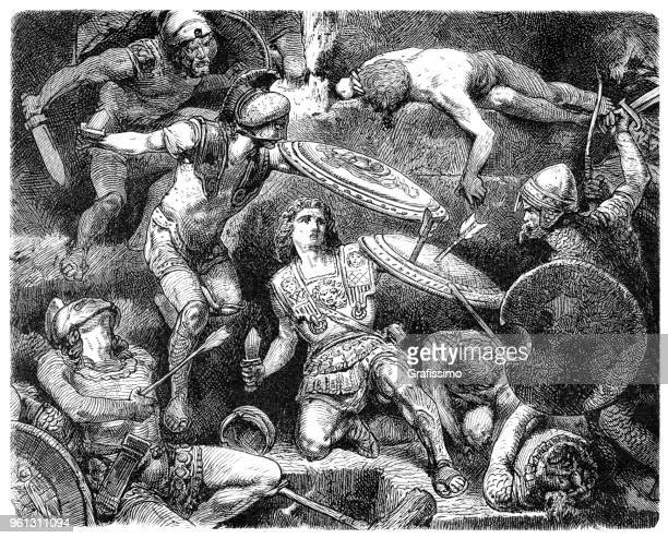alexander the great fighting in battle - alexander the great stock illustrations