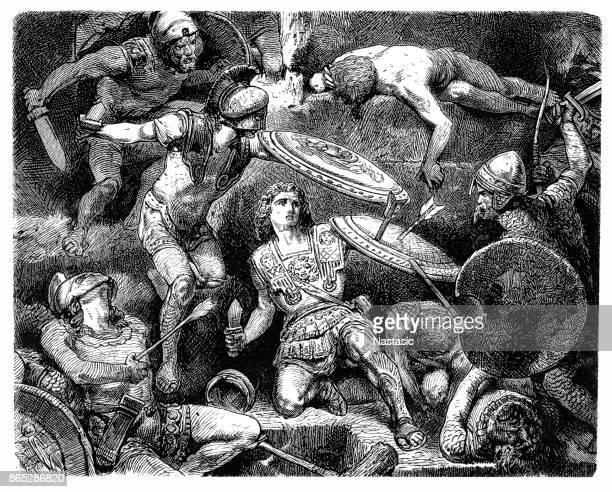 "alexander the great in battle, ""alexander in peril of his life"" - alexander the great stock illustrations"