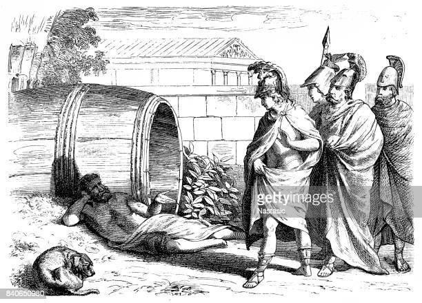 ilustraciones, imágenes clip art, dibujos animados e iconos de stock de conoce a alexander el gran filósofo diógenes de sinope - filosofos griegos