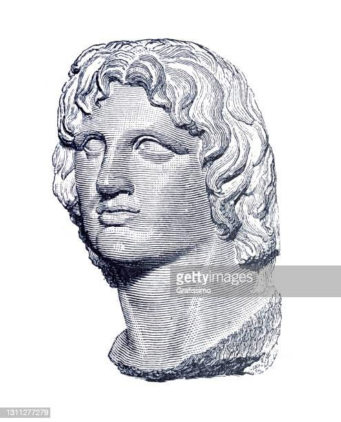 alexander the great portrait - alexander the great stock illustrations