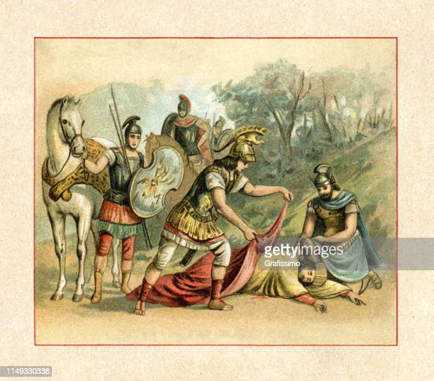 alexander the great reaching darius iii. who was killed by his cousin satrap bessus - darius iii stock illustrations