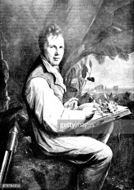 Retrato de Alexander von Humboldt: sentados bajo paraguas al aire libre con un libro sobre sus rodillas