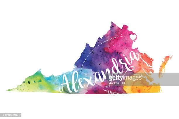 バージニア州アレキサンドリア水彩ラスター地図イラスト - バージニア州 アレクサンドリア点のイラスト素材/クリップアート素材/マンガ素材/アイコン素材