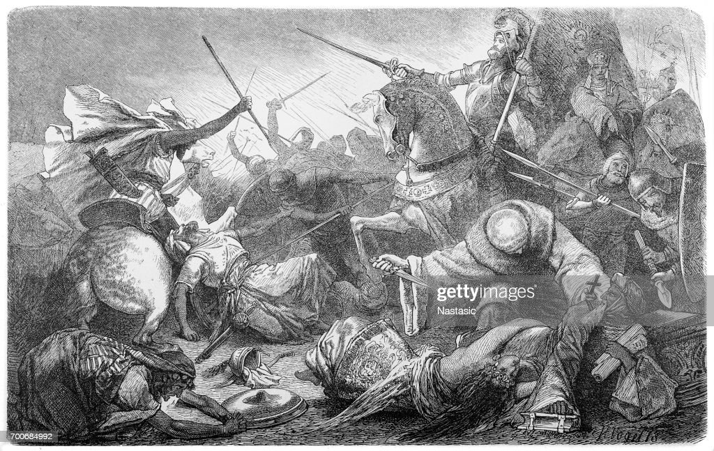 Alfonso of Castile, with the Kings of Aragon and Navarre, defeats the Moors : stock illustration