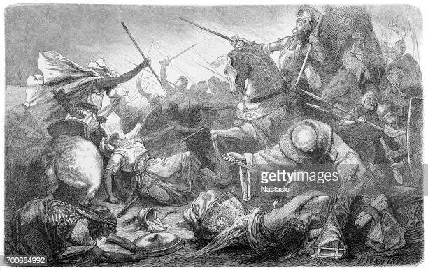 alfonso of castile, with the kings of aragon and navarre, defeats the moors - iberian peninsula stock illustrations, clip art, cartoons, & icons