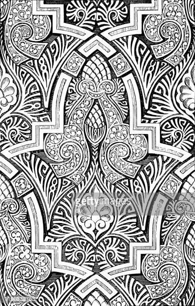 alhambra in granada, decoration - architectural feature stock illustrations
