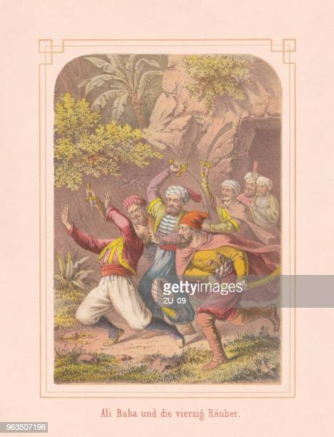 Ali Baba and the Forty Thieves, Arabian Nights, lithograph, 1867