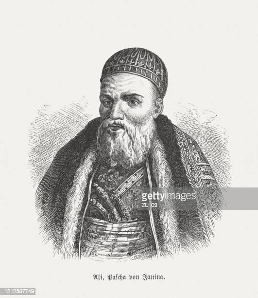 illustrazioni stock, clip art, cartoni animati e icone di tendenza di ali pascià di giannina (1740-1822), incisione su legno, pubblicata nel 1893 - albania