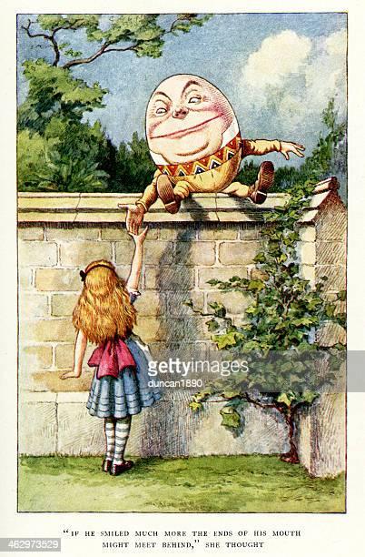 alice und humpty dumpty - john tenniel stock-grafiken, -clipart, -cartoons und -symbole