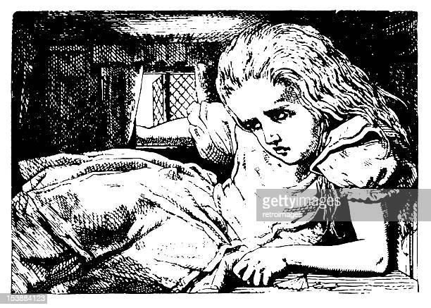 alice growing illustration, (alice's adventures in wonderland) - phobia stock illustrations, clip art, cartoons, & icons